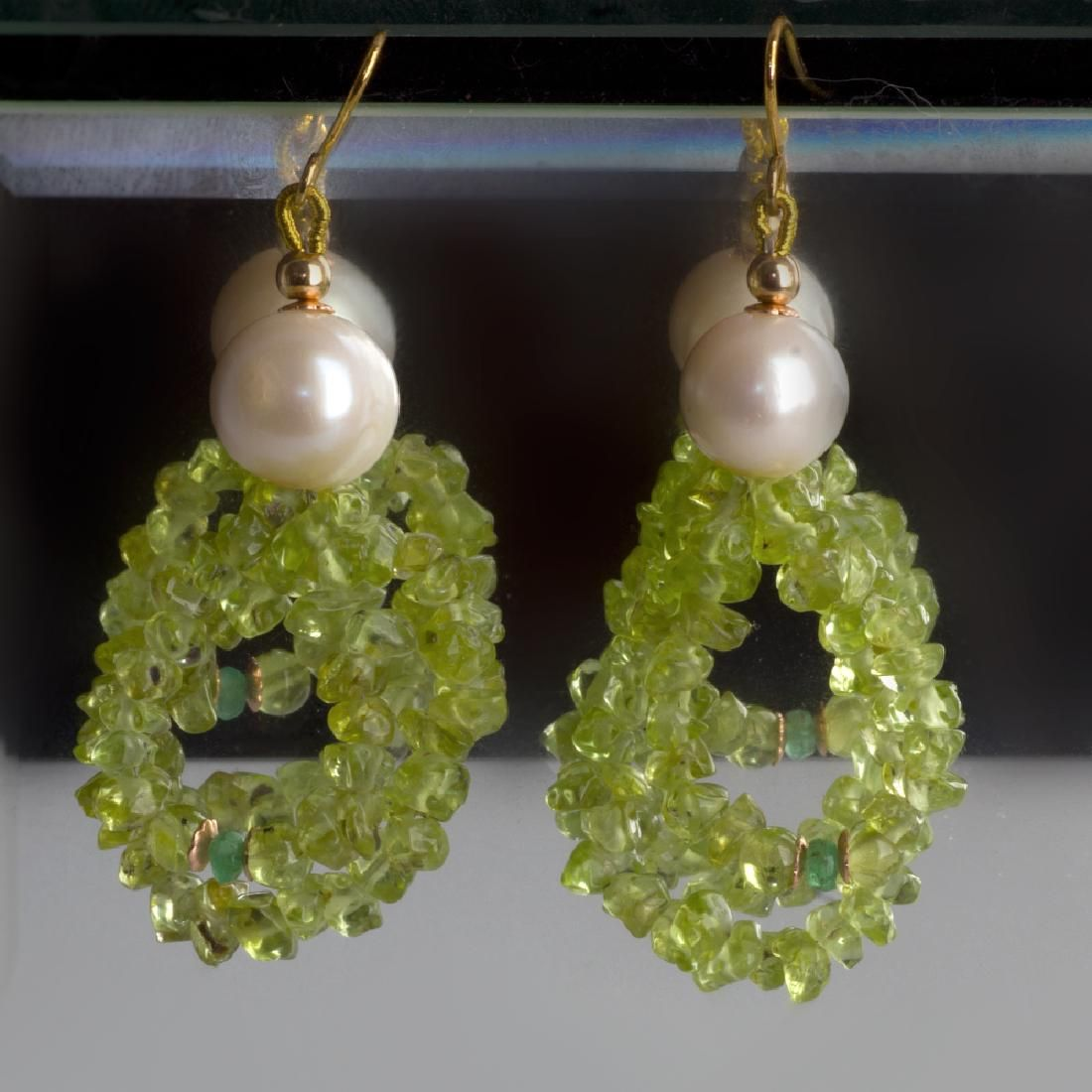 Peridot and Colombian Emeralds 0.22 carat total weight