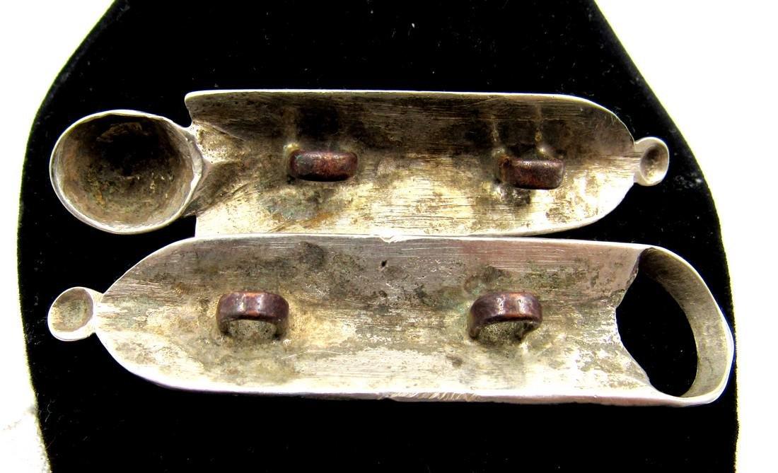 Pair of Medieval Viking Era Silver Belt Buckles - 2