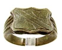 Roman Bronze Ring with Shield Bezel