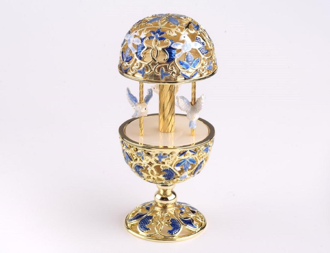 After Fabergé: Blue Faberge Egg Doves Carousel Music