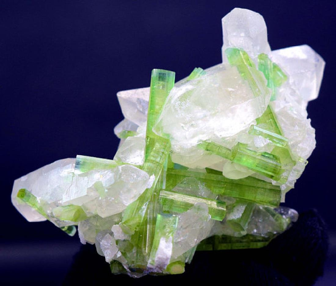 87 Gram Natural Tourmaline Crystals on Undamaged Quartz