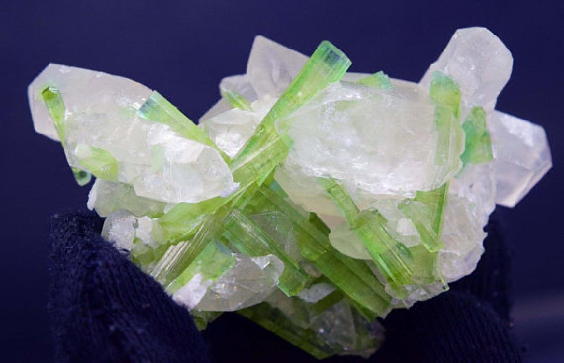 87 Gram Natural Tourmaline Crystals on Undamaged Quartz - 2