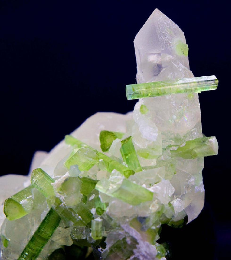87 Gram Natural Tourmaline Crystals on Undamaged Quartz - 5