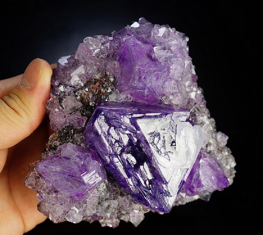 Large impressive Purple Alunite big octahedron crystals - 2
