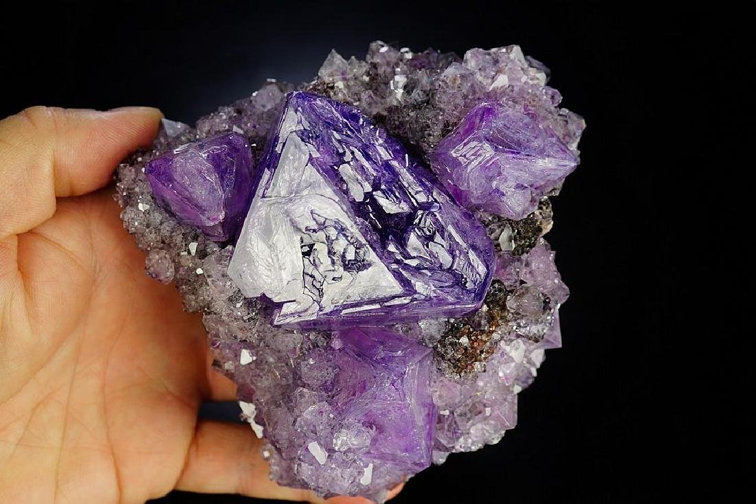 Large impressive Purple Alunite big octahedron crystals - 5