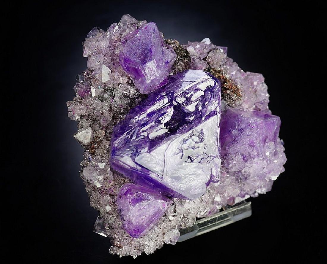 Large impressive Purple Alunite big octahedron crystals - 8