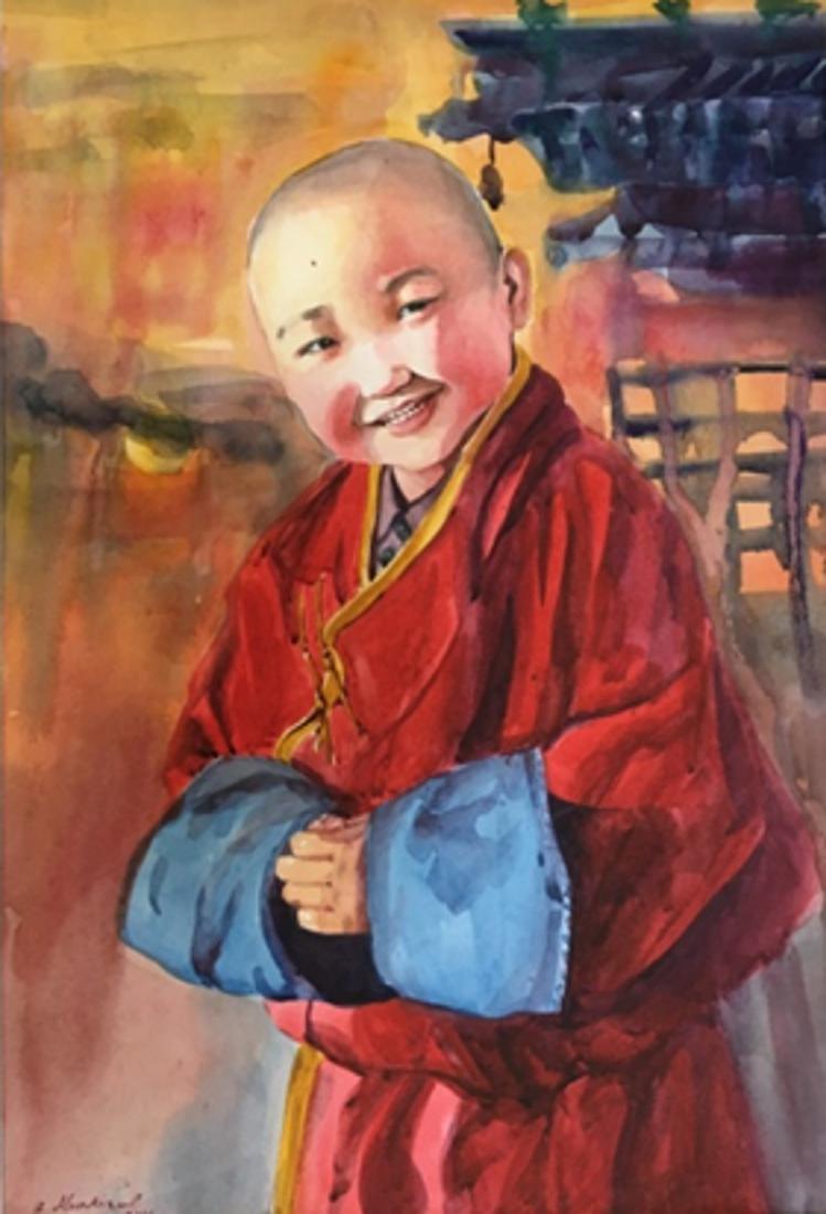 Zulaa Painting Little Monk