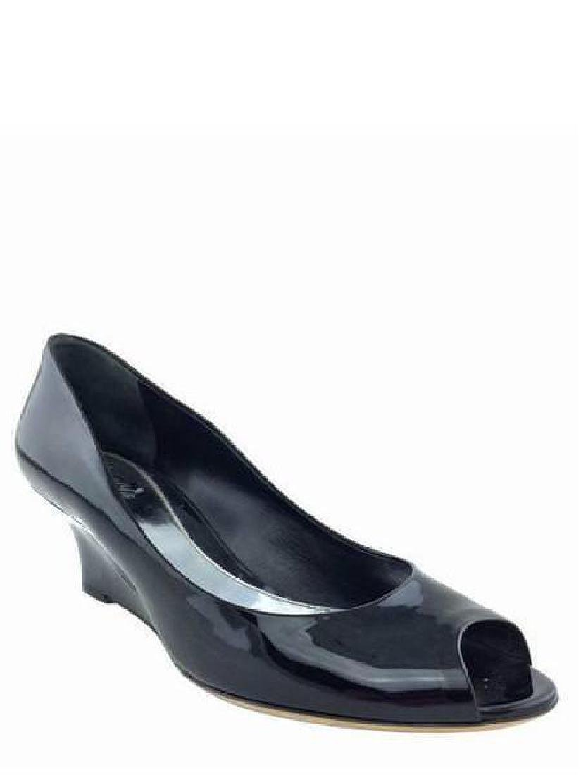 Gucci Size 9 Black Patent Leather Sofia Wedge Pumps