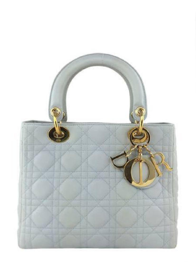 Christian Dior Cannage Quilt Leather Lady Satchel Bag