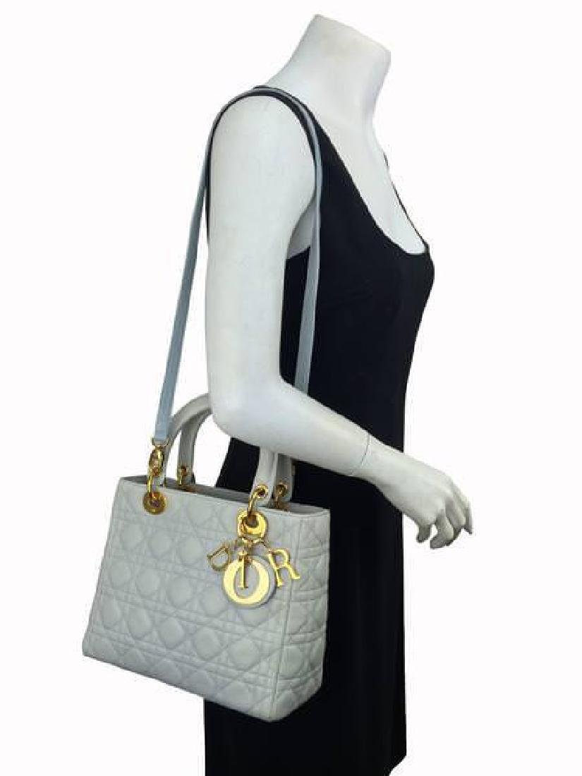 Christian Dior Cannage Quilt Leather Lady Satchel Bag - 2
