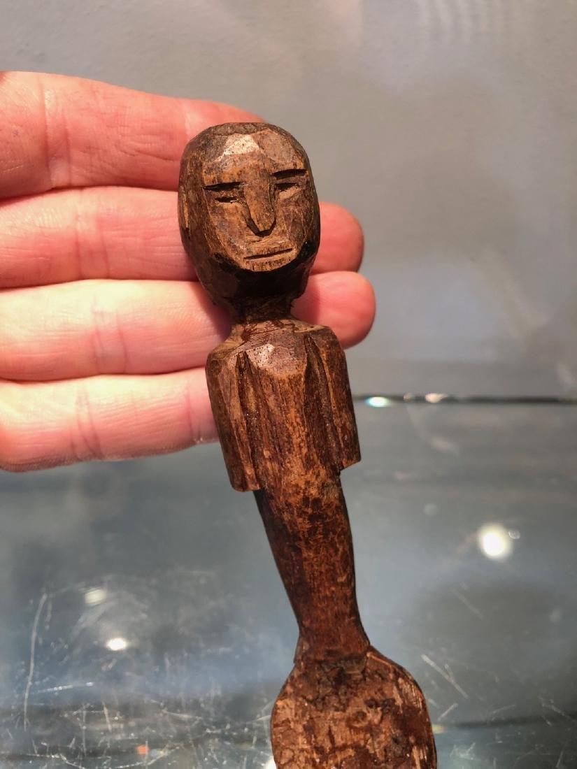 Small Ritual Zaramo Fertility Spoon Carved in Wood - 5