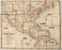 1854 Thayer, Bridgman, Fanning Map of US, Mexico and