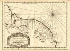 Carte de la Guyane'. Guyana, Suriname & French Guiana.