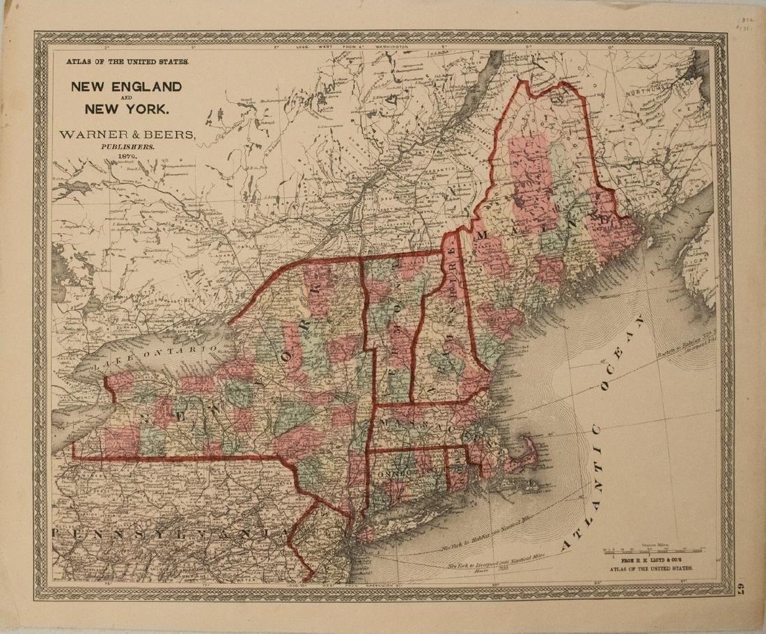 1872 Warner Beers Map of New England and New York --