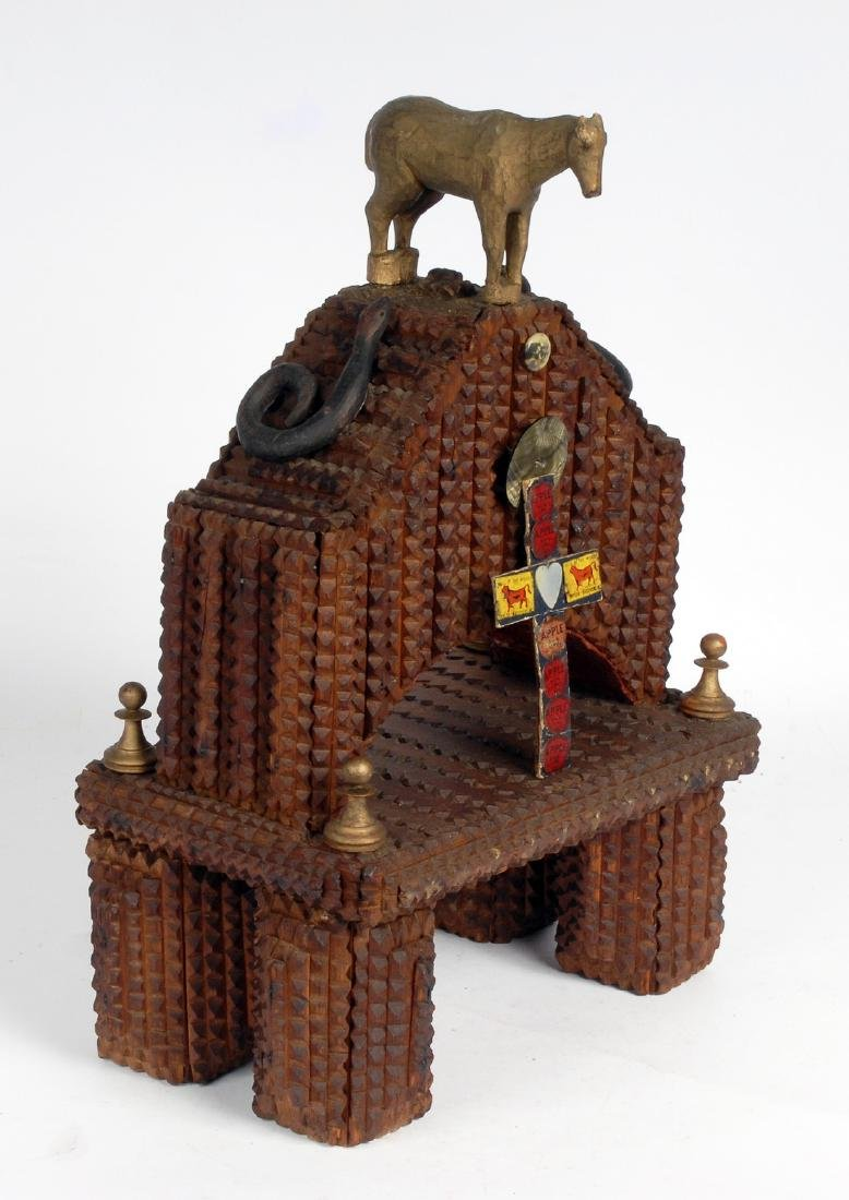 Tramp Art Shrine with Figural Carvings - 4