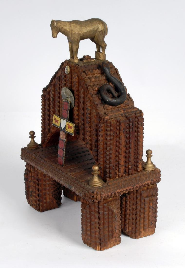 Tramp Art Shrine with Figural Carvings - 5