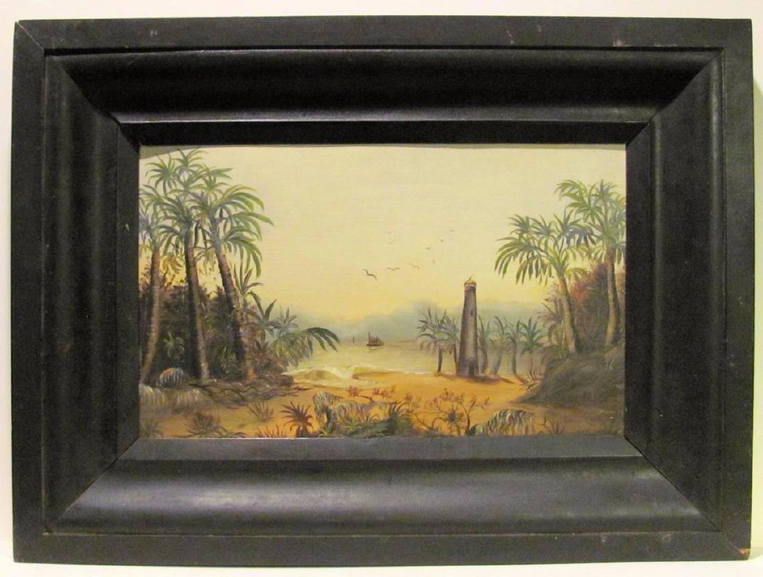 19th Century Folk Art Oil on Board Painting, Beach