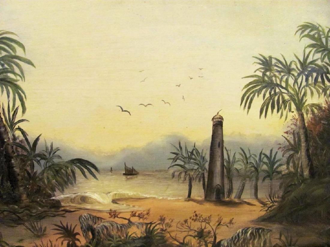 19th Century Folk Art Oil on Board Painting, Beach - 2