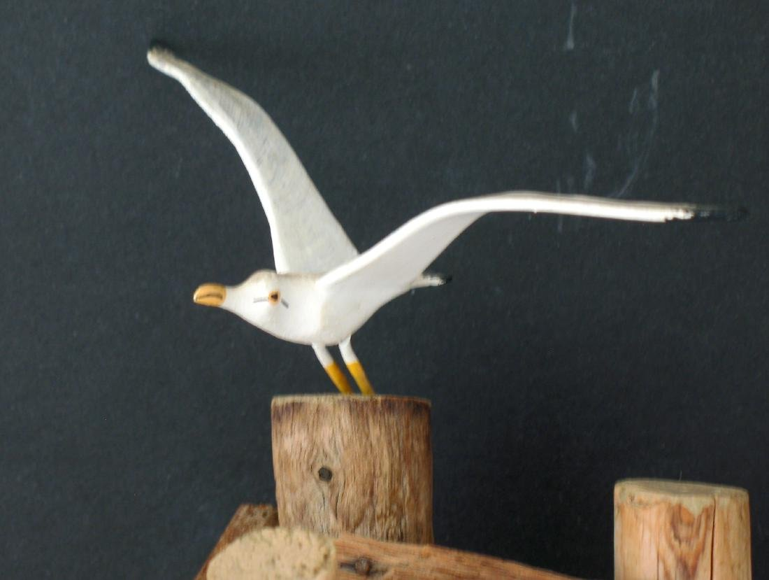 Folk Art Seagull Carving - 2