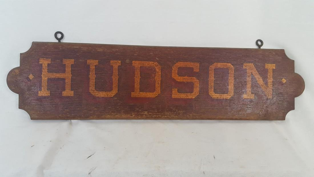 """Early Trolley """"Hudson"""" Route or Destination Sign"""