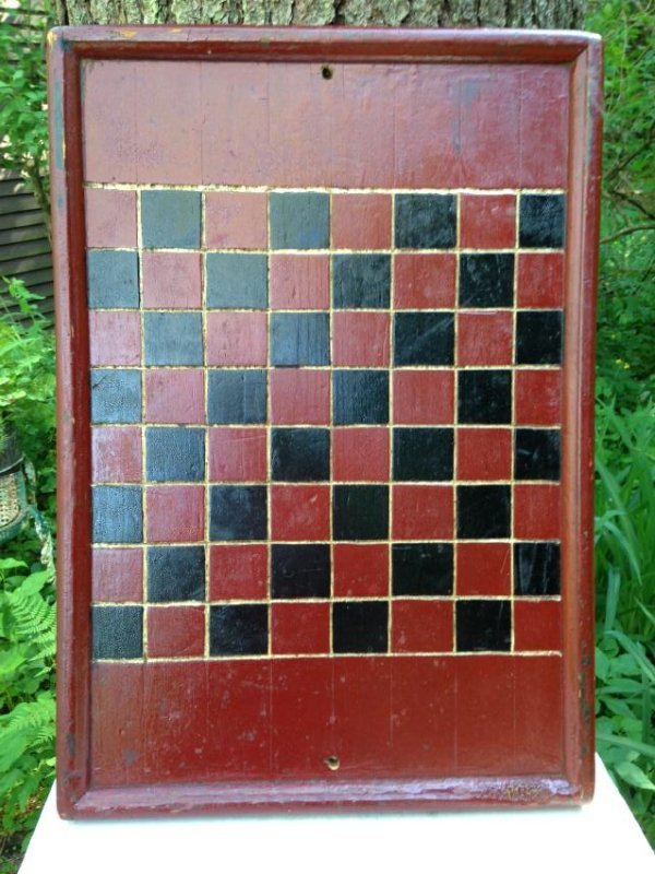 1900 Pine Checkerboard in Old Red and Black Paint
