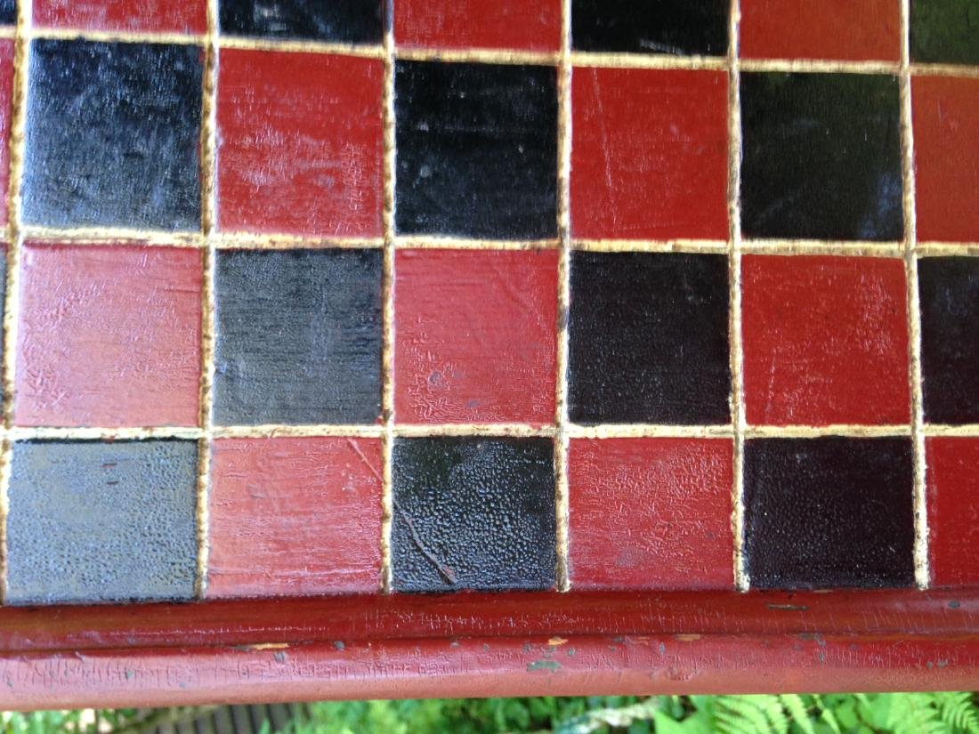 1900 Pine Checkerboard in Old Red and Black Paint - 2