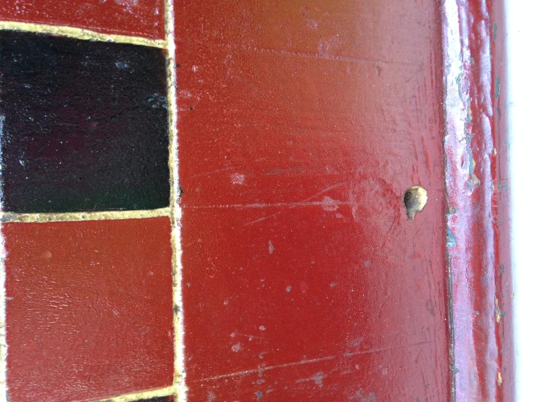1900 Pine Checkerboard in Old Red and Black Paint - 3