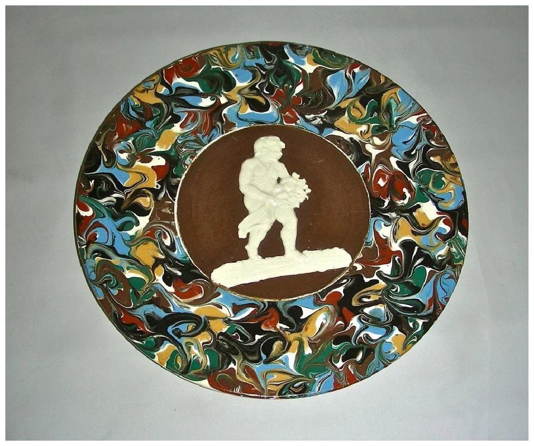 Blue Slip Decorated Marbled Mocha Ware Plaque Fradley