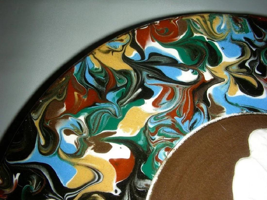 Blue Slip Decorated Marbled Mocha Ware Plaque Fradley - 4