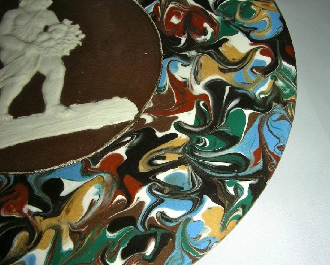 Blue Slip Decorated Marbled Mocha Ware Plaque Fradley - 5