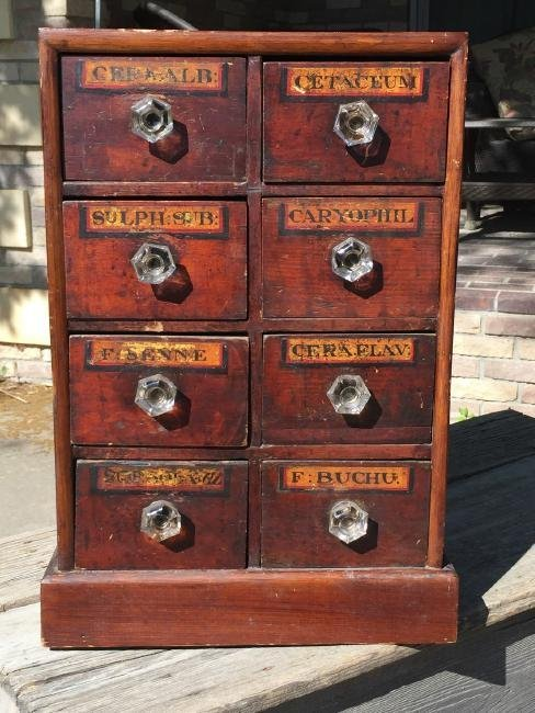 Antique Wooden Apothecary Cabinet Dove Tailed