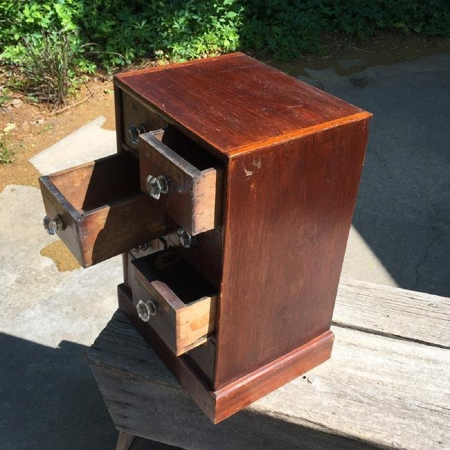 Antique Wooden Apothecary Cabinet Dove Tailed - 6