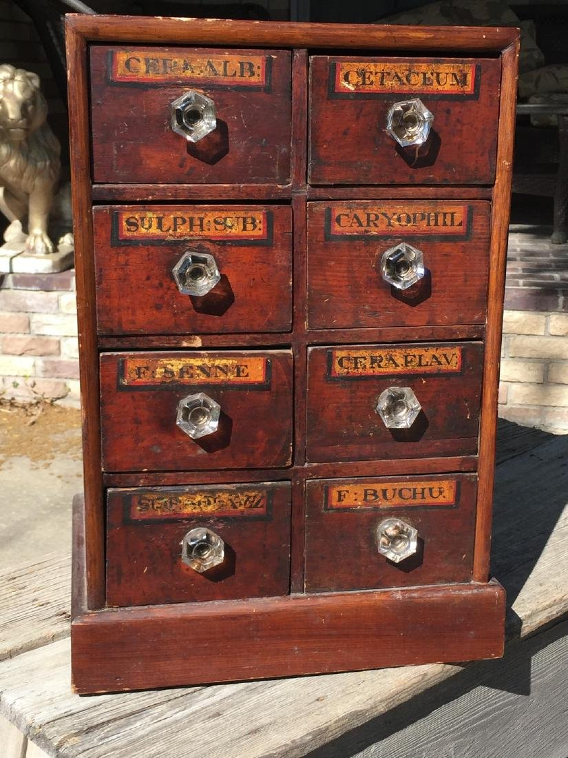 Antique Wooden Apothecary Cabinet Dove Tailed - 7