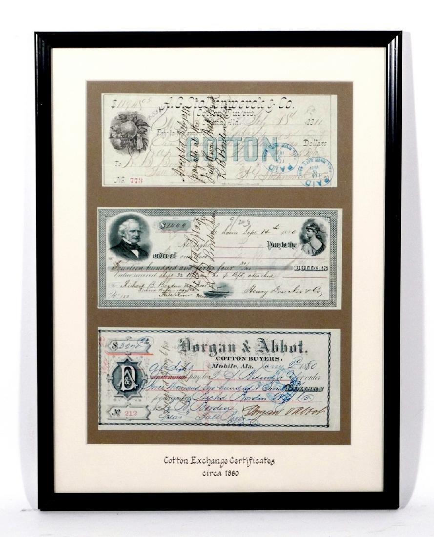 3 Framed Cotton Exchange Certificates - 3