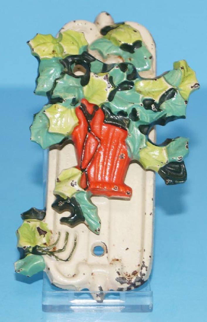 Antique Ivy in Red Basket Cast Iron Doorknocker
