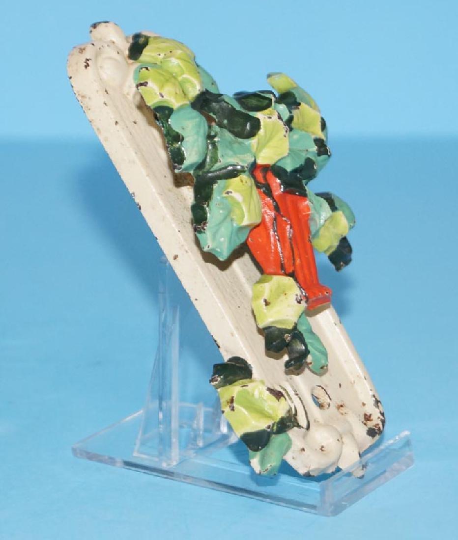 Antique Ivy in Red Basket Cast Iron Doorknocker - 2