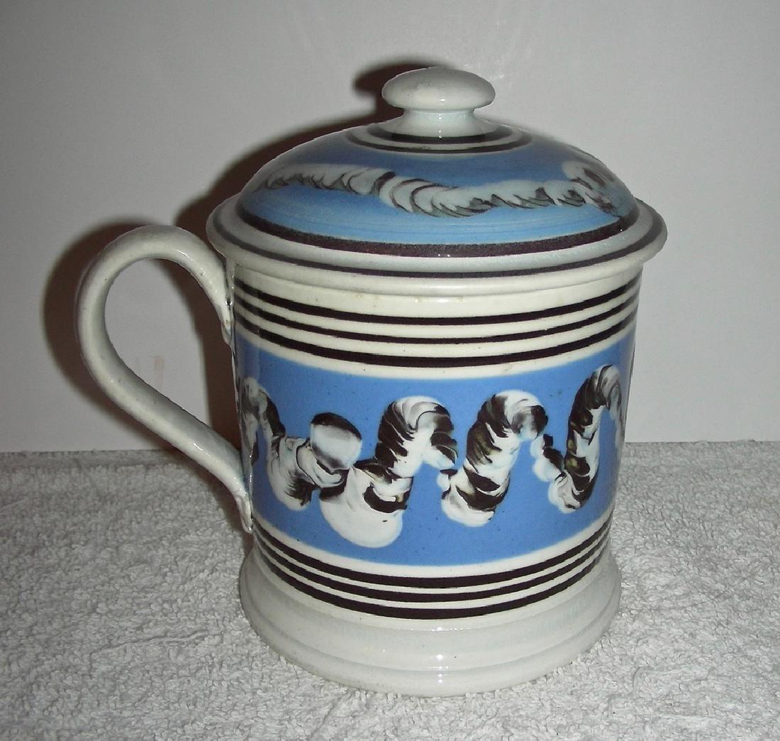 Earthworm Decorated Mocha Ware Porter Mug Original Lid - 2