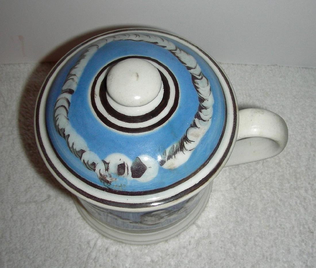 Earthworm Decorated Mocha Ware Porter Mug Original Lid - 6