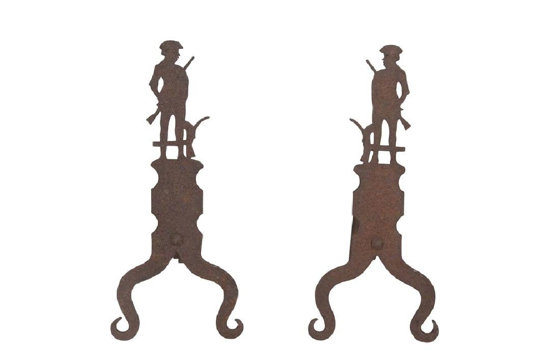Pair of 19th Century Minutemen Andirons