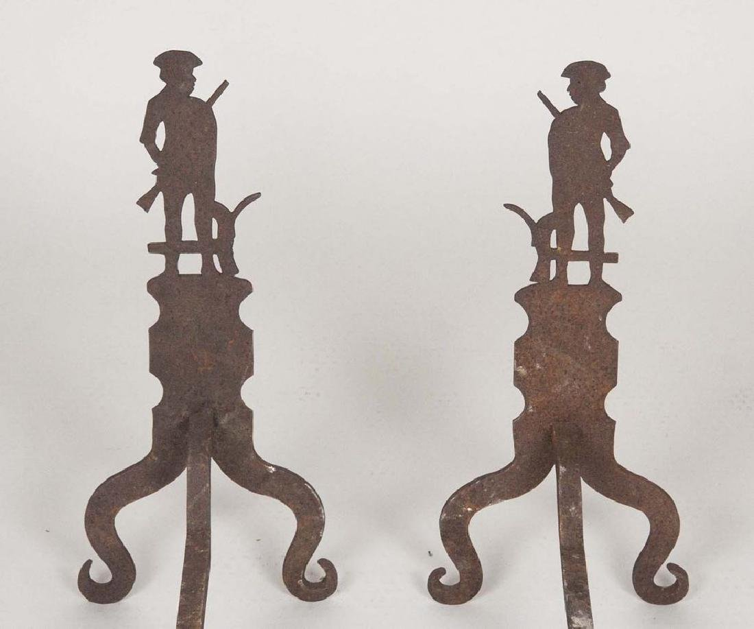 Pair of 19th Century Minutemen Andirons - 3
