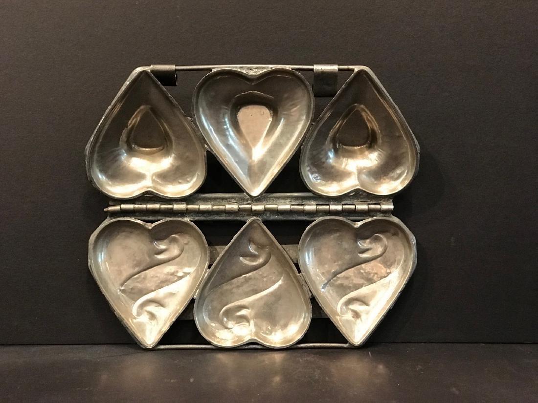 3 Heart Hinged Chocolate/ice Cream Mold, Early 20th C