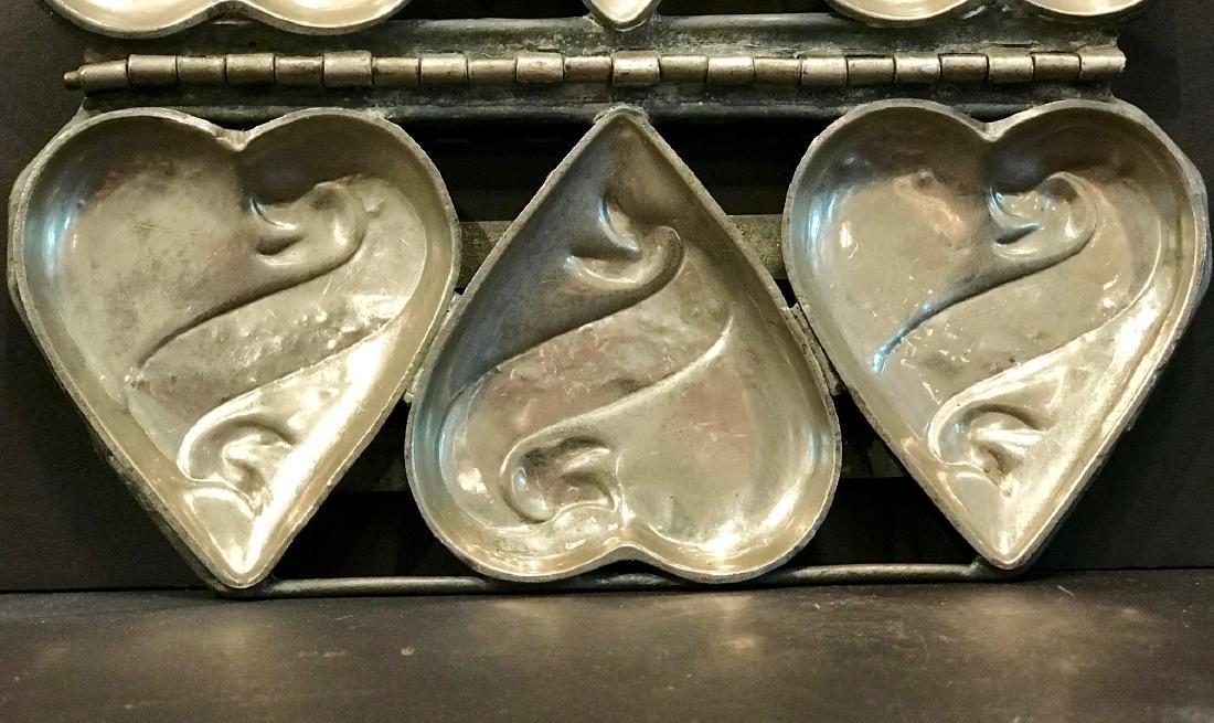 3 Heart Hinged Chocolate/ice Cream Mold, Early 20th C - 3