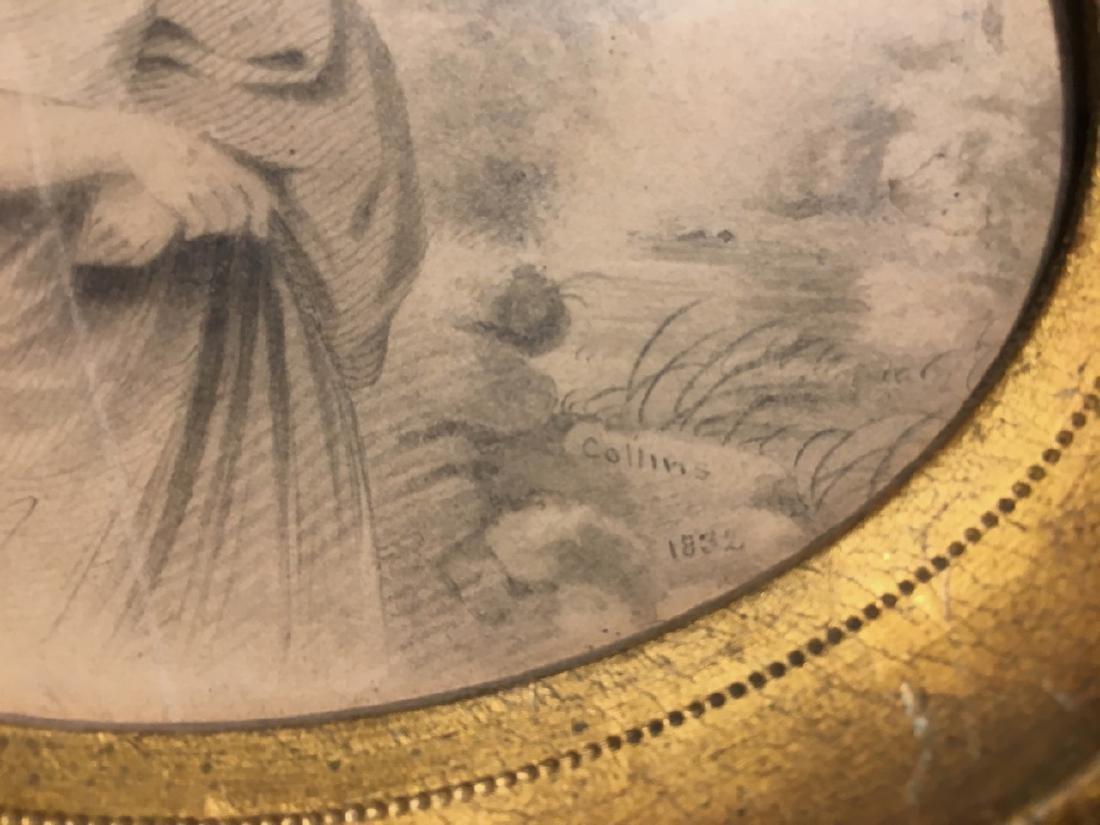 """19th C Pencil Sketh Century Signed """"Collins"""" - 2"""