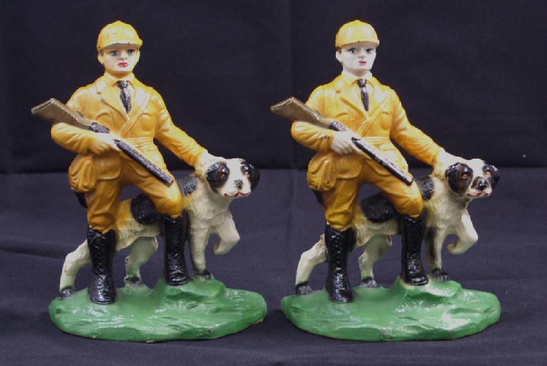 Antique Hunter & Setter Cast Iron Bookends