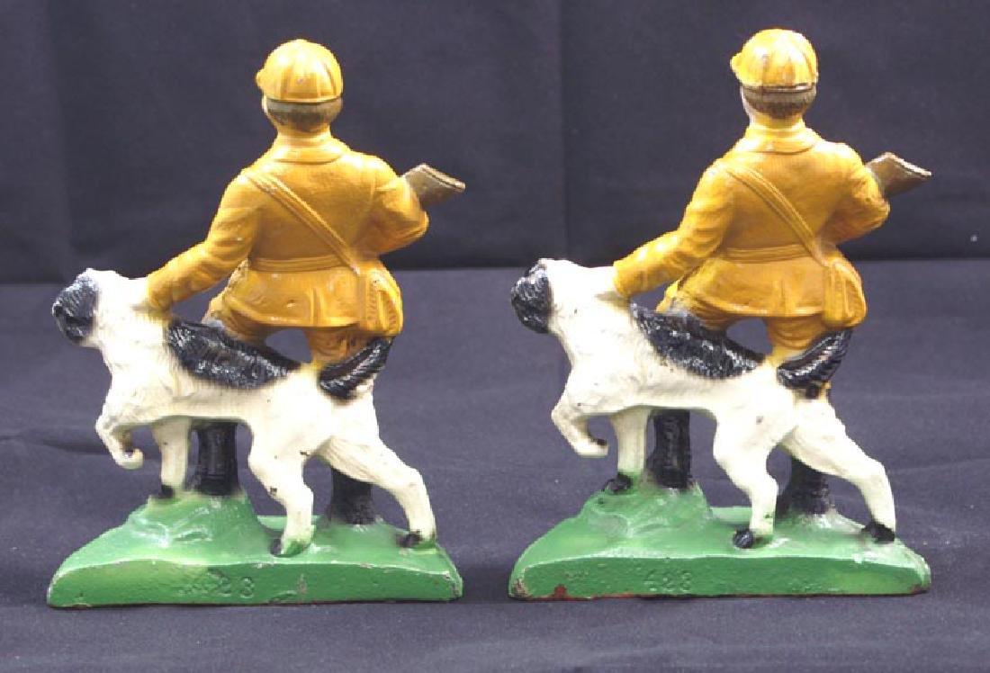 Antique Hunter & Setter Cast Iron Bookends - 4
