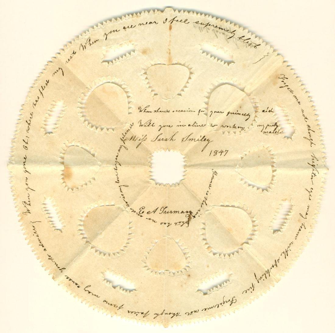 1847 Antique Scherenschnitte Valentine Miss Sarah Smile