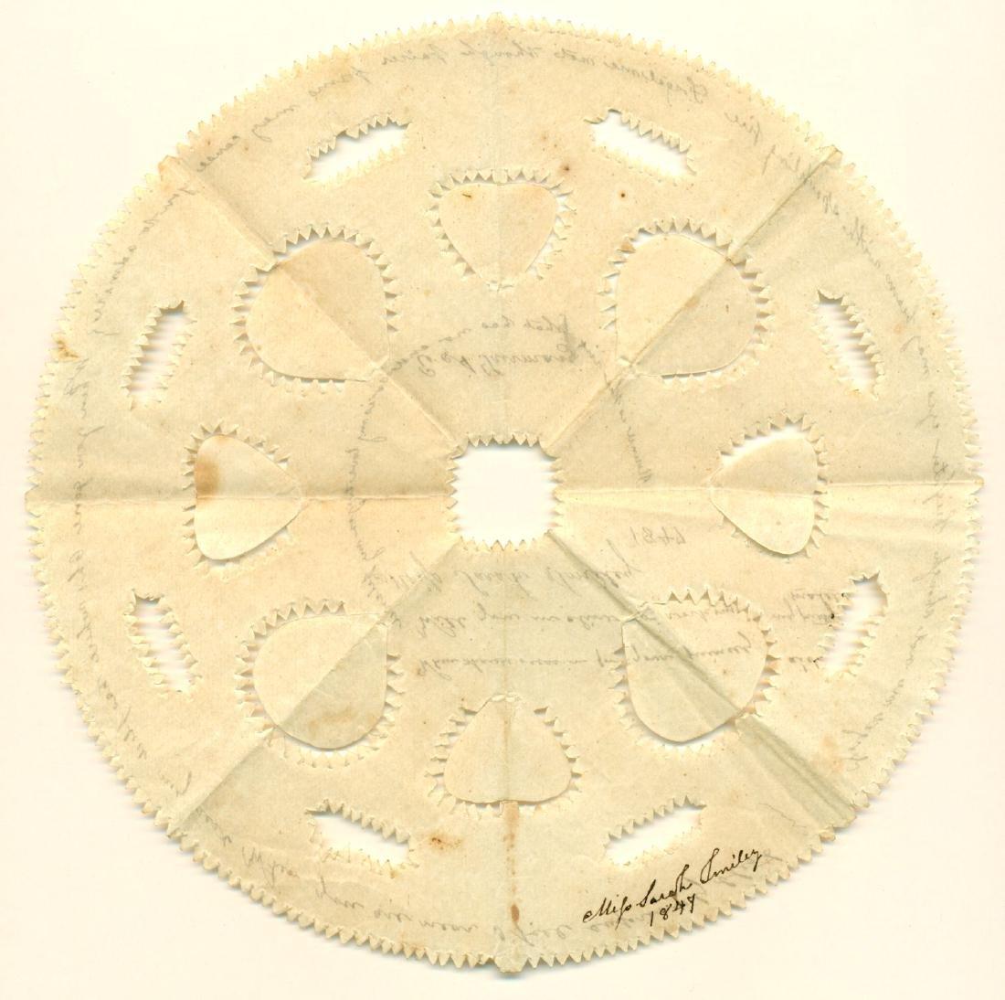 1847 Antique Scherenschnitte Valentine Miss Sarah Smile - 2