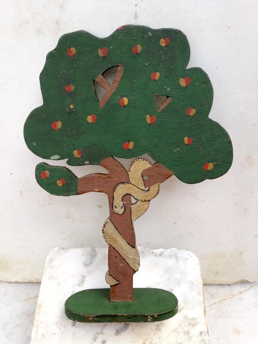 1930 Folk Art Garden of Eden Forbidden Fruit Apple Tree