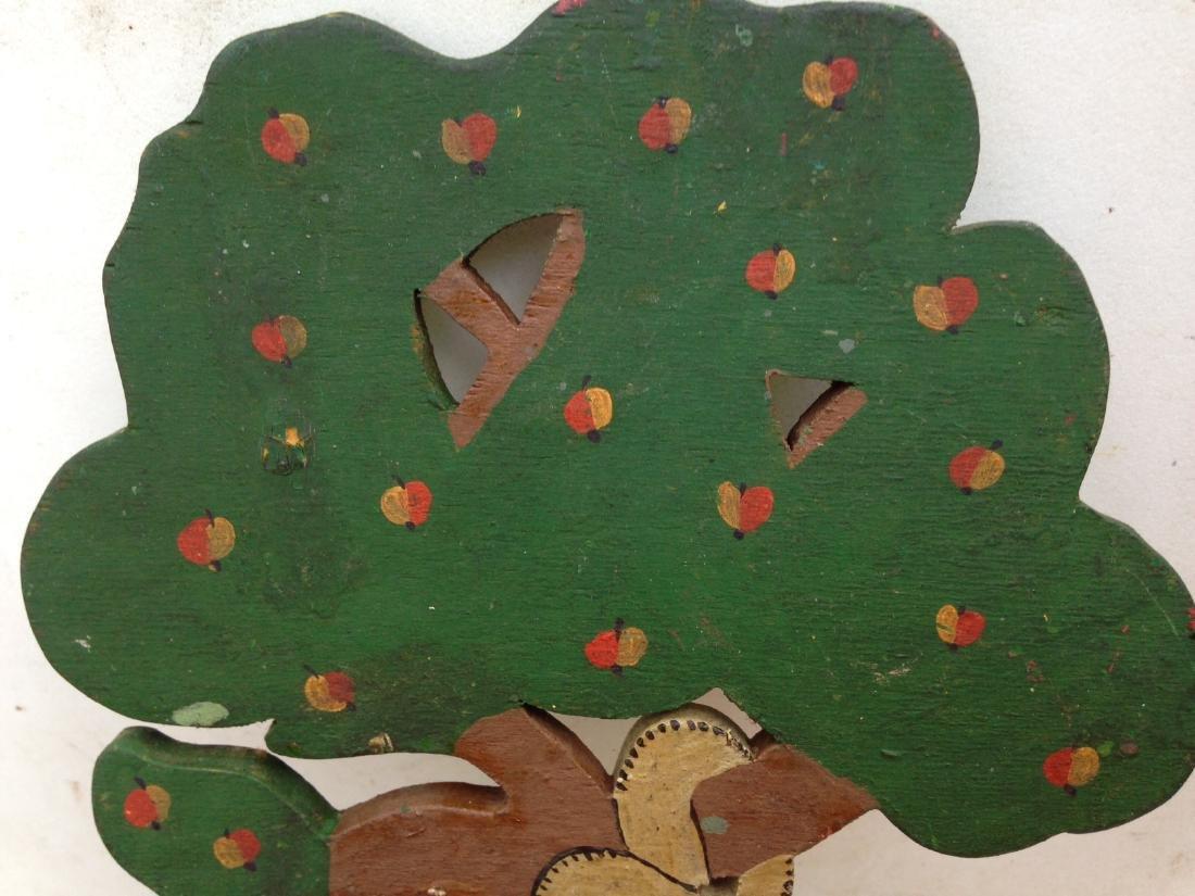 1930 Folk Art Garden of Eden Forbidden Fruit Apple Tree - 3