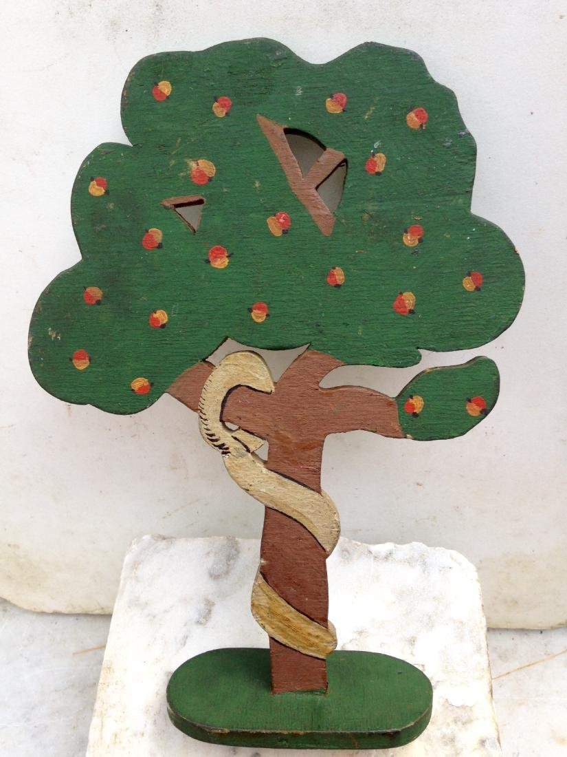 1930 Folk Art Garden of Eden Forbidden Fruit Apple Tree - 6